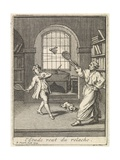 A Teacher Plays Badminton with His Pupil Giclee Print by Bernard Picart