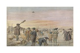Dutch Ice Scene with Hunter Displaying an Otter to Two Fishermen, 1594-1634 Giclee Print by Hendrick Avercamp