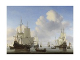 Dutch Ships in a Calm, C. 1665 Giclee Print by Willem van de Velde