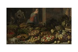 Still Life with Fruit and Vegetables, with Christ at Emmaus, 1630 Giclee Print by Floris van Schooten