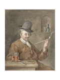 Pipe Smoking Man at a Table with a Plate, Knife, and Glass, 1778 Giclee Print by Gabriel Metsu