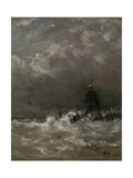 Lighthouse in Breaking Waves, C. 1900-07 Giclee Print by Hendrik Willem Mesdag