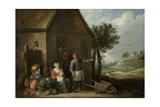 Peasant with His Wife and Child in Front of the Farmhouse, 1640-70 Giclee Print by David Teniers