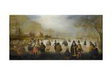 Winter Landscape with Skaters, 1615-20 Lámina giclée por Adam Van Breen