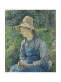 Peasant Girl with a Straw Hat, 1881 Reproduction procédé giclée par Camille Pissarro