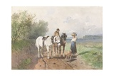 Chat on a Country Road, C. 1860-80 Giclee Print by Anton Mauve