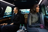 President Barack Obama and First Lady Michelle Obama Ride in the Inaugural Parade Photo