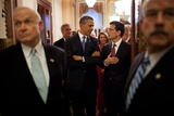 President Barack Obama Talks with Rep. Eric Cantor, Prior to Entering the House Chamber Photo