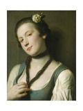 A Girl with a Flower in Her Hair, 1760-62 Giclee Print by Pietro Rotari