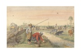 Fishermen with Nets Along a Towpath, 1595-1634 Giclee Print by Hendrick Avercamp