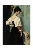 Portrait of Young Woman, with 'Puck' the Dog, C. 1879-85 Giclee Print by Therese Schwartze