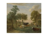 Cows in a Meadow Near a Farm, 1653 Giclee Print by Paulus Potter