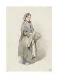 Standing Woman with Headscarf and Basket, 1860-80 Giclee Print by Anton Mauve