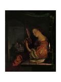 Woman Tuning a Theorbo, 1665 Lámina giclée por Frans Van Mieris
