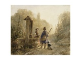 Hunter in Conversation with a Peasant Woman at a Well Giclee Print by Andreas Schelfhout
