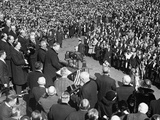 President Herbert Hoover Addresses a Crowd During His 1932 Campaign for Re-Election Photo