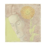 Woman's Head with Reddish Hair and Chrysanthemum, 1896 Giclee Print by Jan Toorop