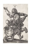 Dancing Peasant Couple, by Hieronymus Wierix Copied from Albrecht Durer, Engraving, C. 1559-1619 Giclee Print by Hieronymus Wierix