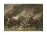 Battle of La Hogue, C. 1778 Giclee Print by Benjamin West