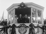 President Calvin Coolidge and VP Charles Dawes in the Reviewing Stand for their Inaugural Parade Photo