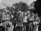 President Calvin Coolidge Talking with Newspapermen at the White House, Aug Photo