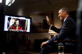 President Barack Obama Is Interviewed Via Youtube and Google+ at the White House Photo