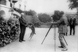 President Harding Being Photographed with His Pet Dog, Laddie Boy, an Airedale Terrier Photo