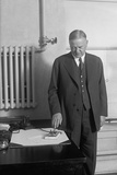 President Herbert Hoover Presses Button to Start Machinery in New Detroit Times Building Photo