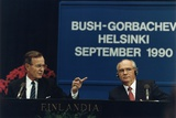 Pres. George H. W. Bush and Soviet Pres. Mikhail Gorbachev at the Helsinki Summit, Sept. 9, 1990 Photo