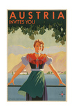 Austria Invites You! 1934 Travel Poster Shows Young Woman in Front of Village and Mountains Giclee Print