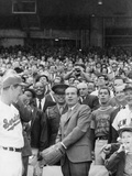 Pres. Richard Nixon Tossing 'First Pitch' at Senators' Opening Game with New York Yankees Photo