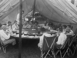 President Warren Harding Has Lunch in a Tent, with Thomas Edison and Henry Ford (On Right) Photo