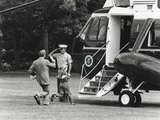 President Jimmy Carter and 8 Year Old Daughter Amy Running to Marine One. May 13, 1977 Photo