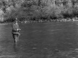 Former President Herbert Hoover Fly-Fishes for Steelhead Trout on the Klamath River Photo