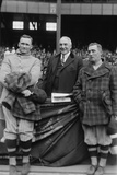 President Warren Harding Poses with Baseball Players, Leslie Bush and Walter Johnson (Left) Photo