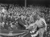 President Warren Harding Shakes Hands with Babe Ruth at Yankee Stadium, April 24, 1923 Photo