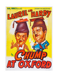 A Chump at Oxford, L-R: Stan Laurel, Oliver Hardy on Indian Poster Art, 1940 Giclee Print