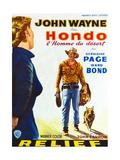Hondo, John Wayne on Belgian Poster Art, 1953 Giclee Print