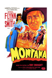 Montana, Alexis Smith, Errol Flynn, (French Poster Art), 1950 Giclée-tryk