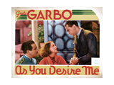 As You Desire Me, from Left, Melvyn Douglas, Greta Garbo, Owen Moore, 1932 Giclée-tryk