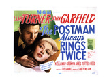 The Postman Always Rings Twice, Lana Turner, John Garfield, 1946 Reproduction procédé giclée