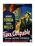 The Wrong Man, (AKA Faux Coupable), Right: Henry Fonda on Belgian Poster Art, 1956 Digitálně vytištěná reprodukce