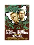 Papillon, (From Left): Steve Mcqueen, Dustin Hoffman, (Italian Poster Art), 1973 Giclee Print