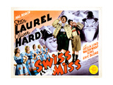Swiss Miss, from Left: Oliver Hardy, Stan Laurel on Title Lobbycard, 1938 Giclee Print