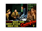 Crossfire, from Left: Robert Mitchum, Robert Ryan, Robert Young, 1947 Giclee Print