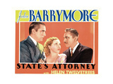 State's Attorney, from Left: William 'Stage' Boyd, Helen Twelvetrees, John Barrymore, 1932 Giclee Print