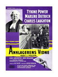 Witness for the Prosecution, (aka Anklagerens Vidne), 1957 Giclée-tryk