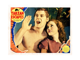 Tarzan Escapes, from Left, Johnny Weissmuller, Maureen O'Sullivan, 1936 Giclee Print