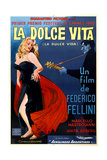 La Dolce Vita, Left: Anita Ekberg on Argentinian Poster Art, 1960 Giclee Print