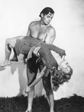 Tarzan and the Amazons, Johnny Weissmuller (Standing), Brenda Joyce, 1945 Photo